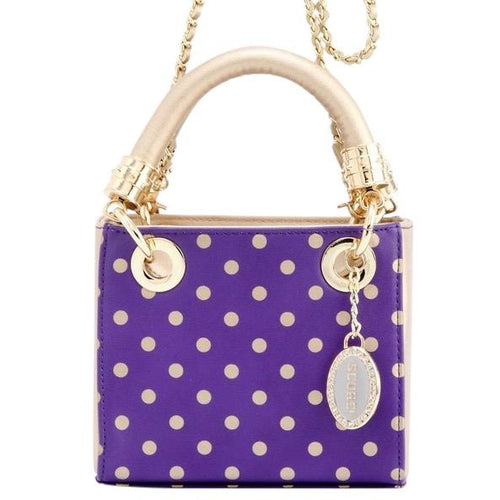 SCORE! Jacqui Classic Designer Stadium Approved Top Handle Satchel Polka Dot Detachable Chain Crossbody Square Game Day Bag Event Team Sorority Purse - Purple and Gold Gold