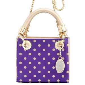 Jacqui Classic Satchel Polka Dot - Royal Purple and Metallic Gold