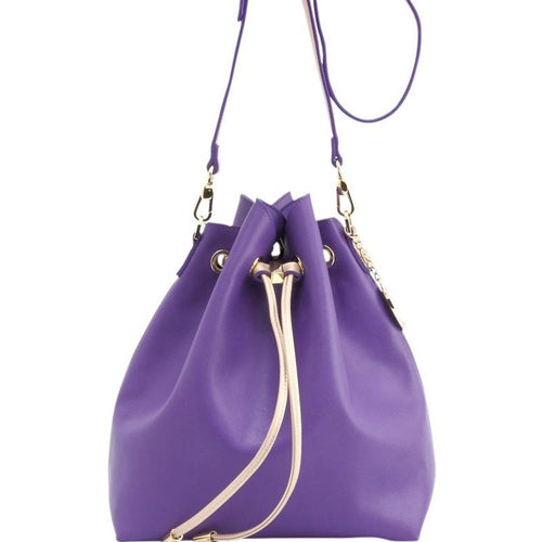 Sarah Jean Solid Bucket Handbag - Royal Purple and Metallic Gold