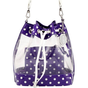 SCORE! Clear Sarah Jean Designer Stadium Shoulder Crossbody Purse Polka Dot Boho Bucket Game Day Bag Tote -Purple and White