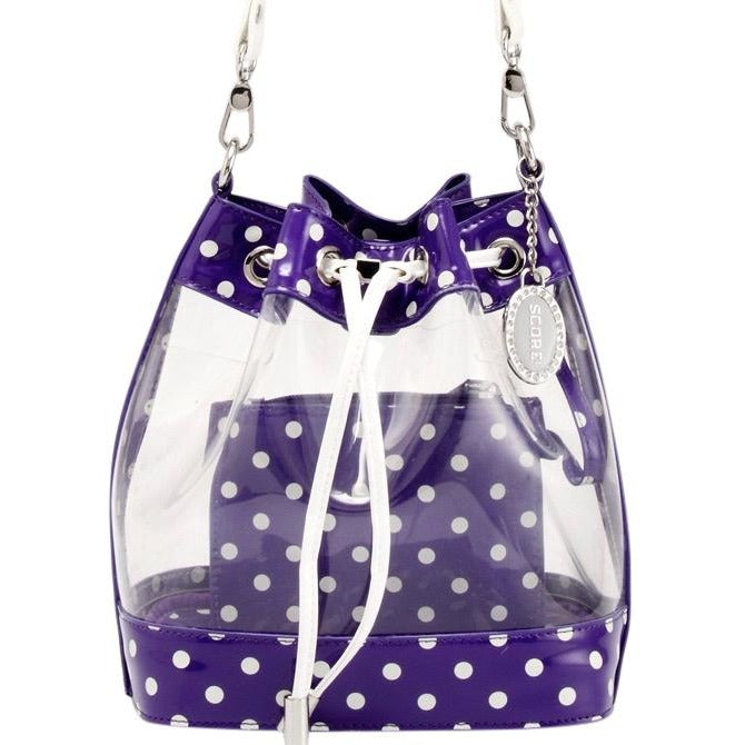 Sarah Jean Clear Bucket Handbag - Royal Purple and White