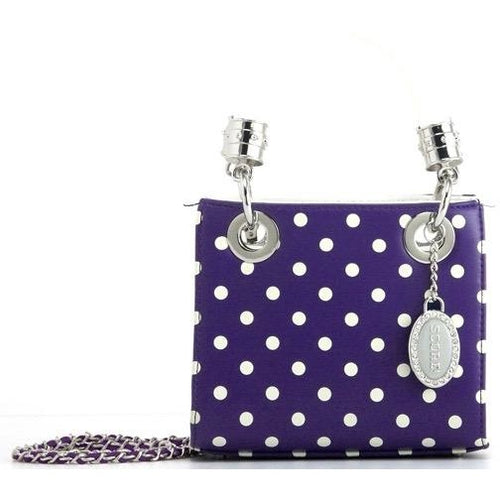 SCORE! Jacqui Classic Designer Stadium Approved Top Handle Satchel Polka Dot Detachable Chain Crossbody Square Game Day Bag Event Team Sorority Purse - Purple and White