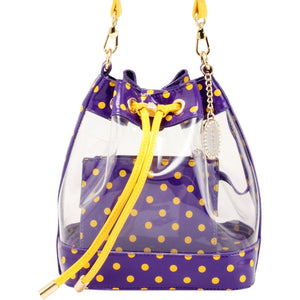Sarah Jean Clear Bucket Handbag - Royal Purple and  Yellow Gold