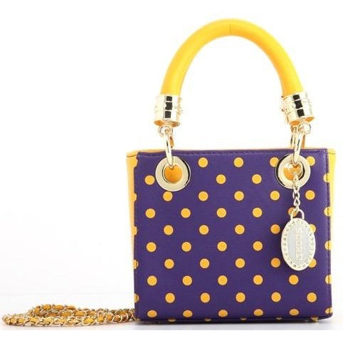 SCORE! Jacqui Classic Designer Stadium Approved Top Handle Satchel Polka Dot Detachable Chain Crossbody Square Game Day Bag Event Team Sorority Purse - Purple and Gold Yellow