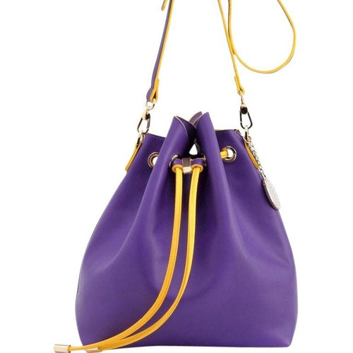 Sarah Jean Solid Bucket Handbag - Royal Purple and  Yellow Gold