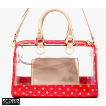 SCORE! Moniqua Large Designer Clear Crossbody Satchel - Red and Gold