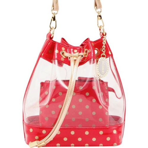 SCORE! Clear Sarah Jean Designer Crossbody Polka Dot Boho Bucket Bag-Red and Gold Gold