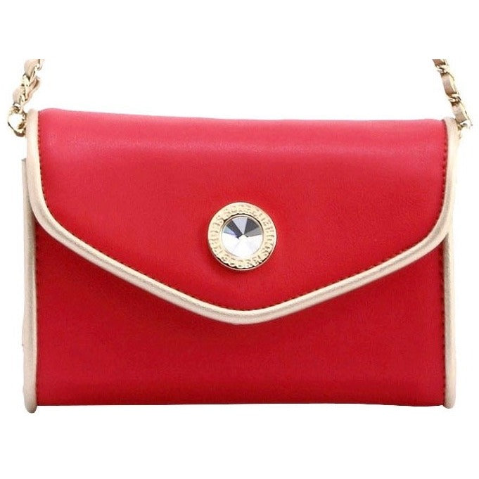 Eva Classic Clutch - Racing Red and Metallic Gold
