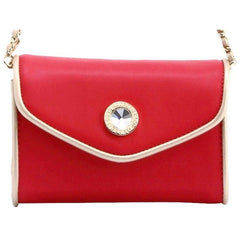 Eva Classic Clutch - Navy Blue, White and Racing Red
