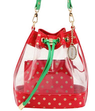 SCORE! Clear Sarah Jean Designer Stadium Shoulder Crossbody Purse Polka Dot Boho Bucket Game Day Bag Tote - Red, Gold and Green Alpha Gamma Delta