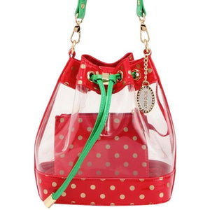 SCORE! Clear Sarah Jean Designer Crossbody Polka Dot Boho Bucket Bag-Red, Gold and Green