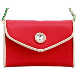 Eva Classic Clutch - Racing Red, Gold and Fern Green