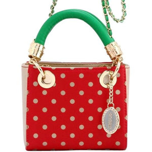 SCORE! Jacqui Classic Designer Stadium Approved Top Handle Satchel Polka Dot Detachable Chain Crossbody Square Game Day Bag Event Team Sorority Purse - Red, Gold and Green Alpha Gamma Delta