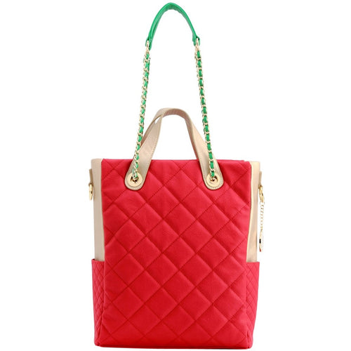 SCORE!'s Kat Travel Tote Multi-function Business Work College Teacher Computer Laptop Shoulder Cross-body Top Handles Quilted Bag -  Red, Gold and Green Alpha Gamma Delta