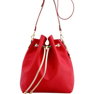 SCORE! Sarah Jean Crossbody Large BoHo Bucket Bag - Red, Gold, and Fern Green