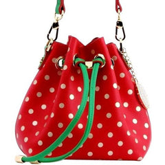 Sarah Jean Polka Dot Bucket Handbag - Racing Red, Metallic Gold and Fern Green