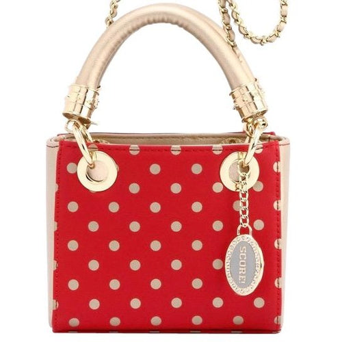 Jacqui Classic Satchel Polka Dot - Racing Red and Metallic Gold