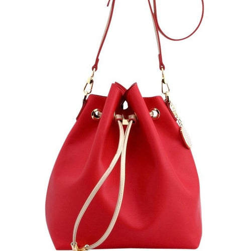 SCORE! Sarah Jean Designer Shoulder Crossbody Purse Solid Extra Large Boho Bucket Game Day Bag Tote- Red and Gold
