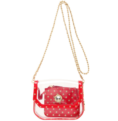 SCORE! Chrissy Small Designer Clear Crossbody Bag - Red and Gold