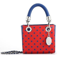 Jacqui Classic Satchel Polka Dot - Racing Red and Navy Blue