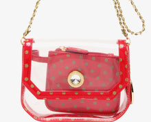 SCORE! Chrissy Small Designer Clear Crossbody Bag - Red and Olive Green