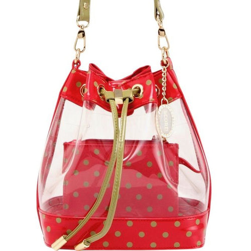 SCORE! Clear Sarah Jean Designer Stadium Shoulder Crossbody Purse Polka Dot Boho Bucket Game Day Bag Tote - Red and Olive Green Alpha Chi Omega and Washington State Cougars