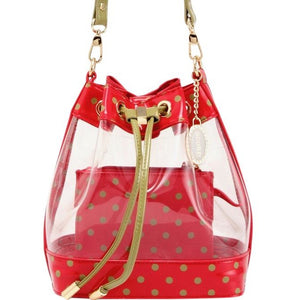 SCORE! Clear Sarah Jean Designer Crossbody Polka Dot Boho Bucket Bag-Red and Olive Green for Washington State University Cougars, Alpha Chi Omega, Alpha Sigma Alpha