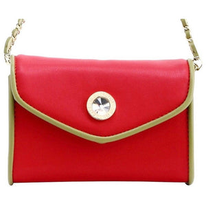 SCORE! Eva Classic Designer Stadium Approved Small Clutch Detachable Chain Crossbody Game Day Bag Event Team Sorority Purse - Red and Olive Green Alpha Chi Omega