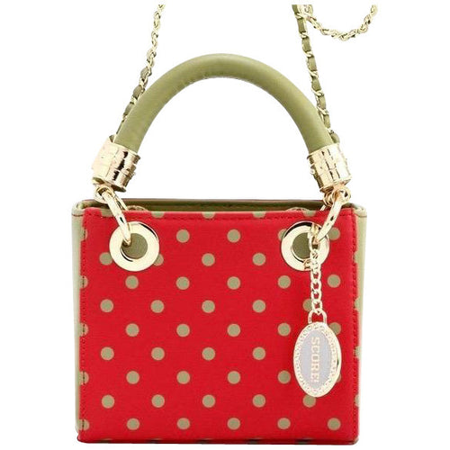 SCORE! Jacqui Classic Designer Stadium Approved Top Handle Satchel Polka Dot Detachable Chain Crossbody Square Game Day Bag Event Team Sorority Purse - Red and Olive Green Alpha Chi Omega & Alpha Sigma Alpha