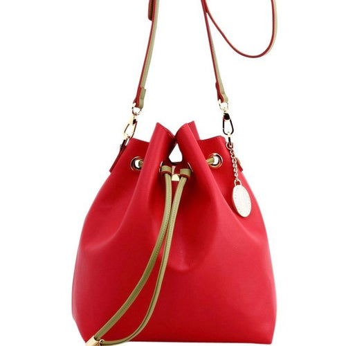 SCORE! Sarah Jean Designer Shoulder Crossbody Purse Solid Extra Large Boho Bucket Game Day Bag Tote - Red and Olive Green Alpha Chi Omega