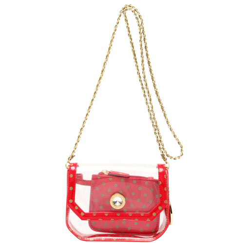 Chrissy Small Clear Crossbody Stadium Compliant Game Day Bag - Red and Olive Green Alpha Chi Omega