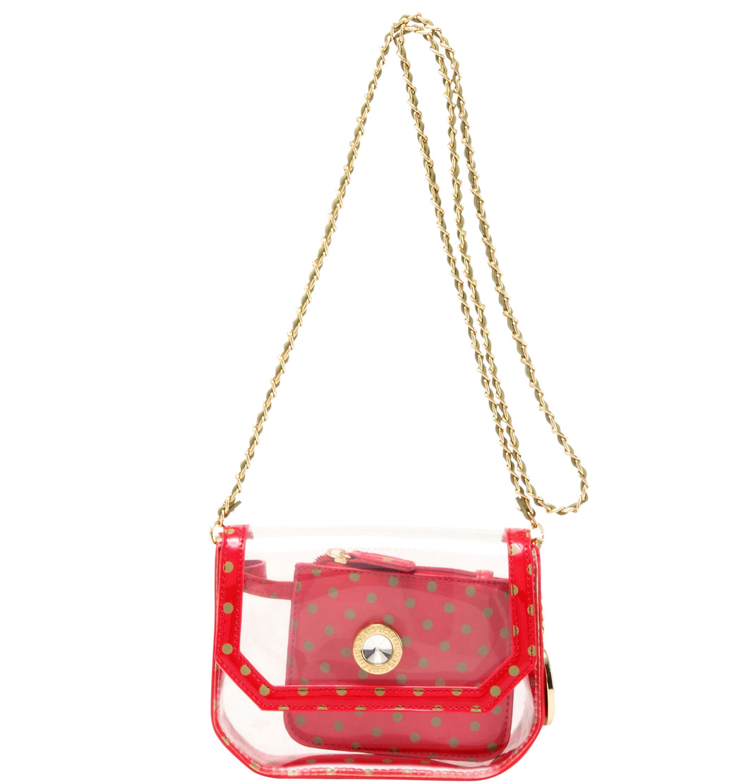 SCORE! Chrissy Small Designer Clear Crossbody Bag - Red and Olive Green for Washington State University Cougars, Alpha Chi Omega, Alpha Sigma Alpha
