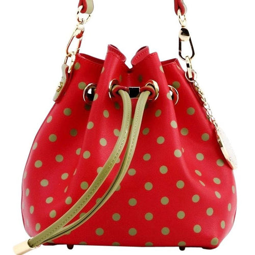 SCORE! Sarah Jean Designer Small Stadium Shoulder Crossbody Purse Polka Dot Boho Bucket Game Day Bag Tote - Red and Olive Green Alpha Chi Omega