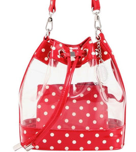 SCORE! Clear Sarah Jean Designer Stadium Shoulder Crossbody Purse Polka Dot Boho Bucket Game Day Bag Tote - Red and White