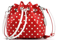 SCORE! Sarah Jean Small Crossbody Polka dot BoHo Bucket Bag- Red and White