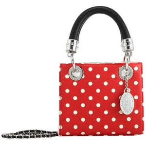 SCORE! Jacqui Classic Designer Stadium Approved Top Handle Satchel Polka Dot Detachable Chain Crossbody Square Game Day Bag Event Team Sorority Purse - Red and White with Black Handles
