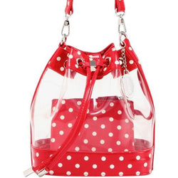 Sarah Jean Clear Bucket Handbag - Racing Red and White