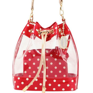 SCORE! Clear Sarah Jean Designer Stadium Shoulder Crossbody Purse Polka Dot Boho Bucket Game Day Bag Tote - Red, White and Gold