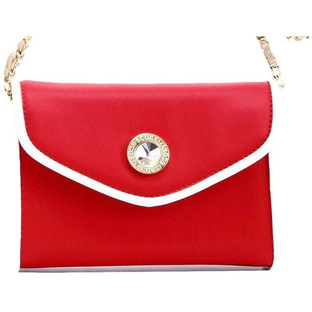 Eva Classic Clutch - Racing Red, White and Metallic Gold