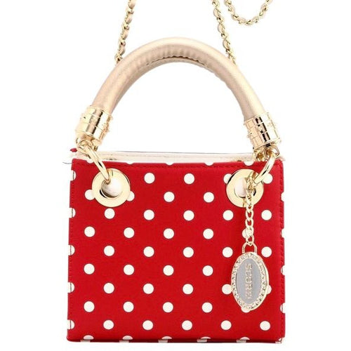 SCORE! Jacqui Classic Designer Stadium Approved Top Handle Satchel Polka Dot Detachable Chain Crossbody Square Game Day Bag Event Team Sorority Purse - Red, White and Gold