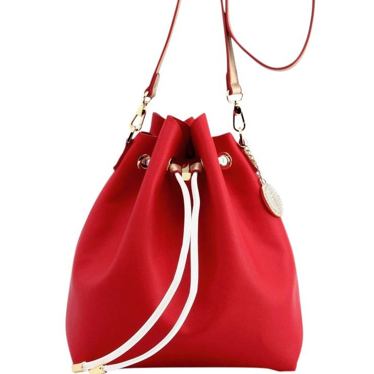 Sarah Jean Solid Bucket Handbag - Racing Red, White and Metallic Gold