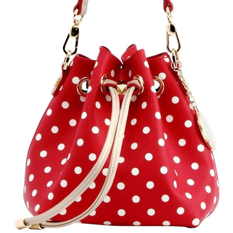 Sarah Jean Polka Dot Bucket Handbag - Racing Red, White and Metallic Gold