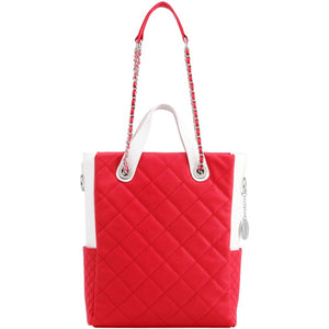 SCORE!'s Kat Travel Tote Multi-function Business Work College Teacher Computer Laptop Shoulder Cross-body Top Handles Quilted Bag - Red and White