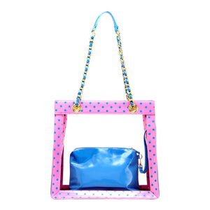 SCORE! Andrea Large Clear Designer Tote for School, Work, Travel - Pink and Blue