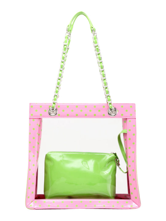 Andrea Clear Tailgate Tote - Aurora Pink and Lime Green