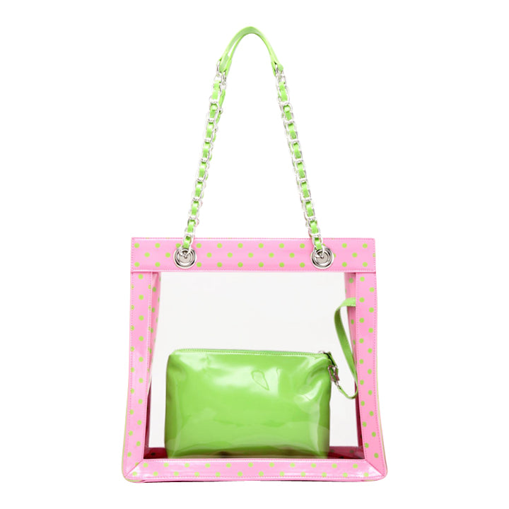 SCORE! Andrea Large Clear Designer Tote for School, Work, Travel - Pink and Lime Green