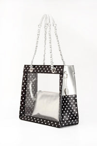 SCORE!'s Andrea Clear Tailgate Tote Polka Dot Shoulder Bag with Detachable Zippered Privacy Pouch - Black and Silver