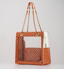 SCORE!'s Andrea Clear Tailgate Tote Polka Dot Shoulder Bag - Burnt Sienna Orange and White