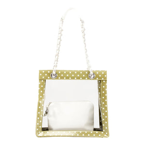 Andrea Clear Tailgate Tote - Olive Green and White