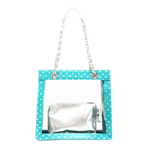 SCORE! Andrea Large Clear Designer Tote for School, Work, Travel - Turquoise and Silver